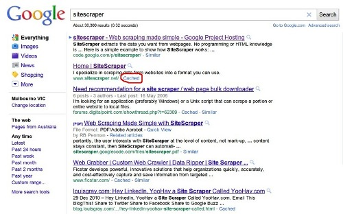 Using Google Cache to crawl a website | WebScraping com
